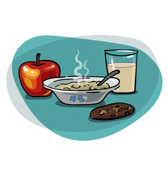 Breakfast with oatmeal and apple vector