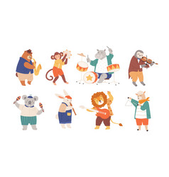 bundle funny animals playing musical vector image