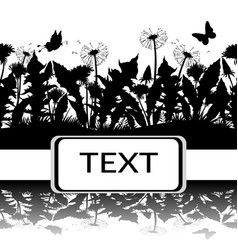 butterflies and flowers silhouettes vector image