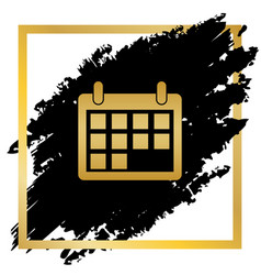 calendar sign golden icon at vector image