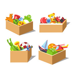 cardboard boxes with kids favorite toys for vector image