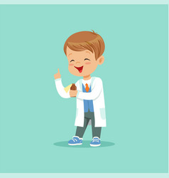Cartoon character of little baby boy in white coat vector