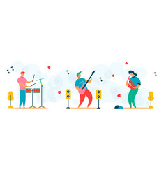 cartoon flat characters set for music festival vector image