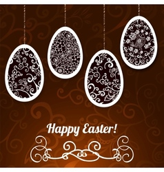 Chocolate Easter Background with Eggs vector