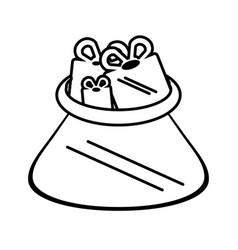 Christmas bag gifts isolated icon vector