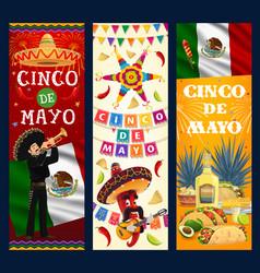 cinco de mayo banners cartoon mariachi vector image