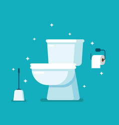 Clean toilet in flat style vector