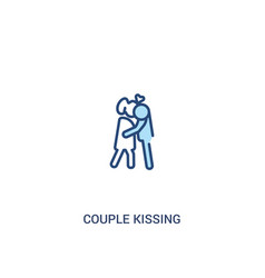 Couple kissing concept 2 colored icon simple line vector
