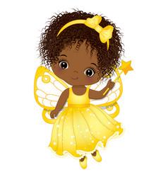 Cute african american fairy holding magic wand vector