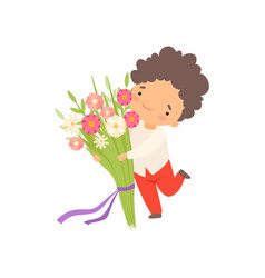 Cute little boy running with bouquet flowers vector