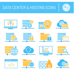 data center hosting and cloud services icons set vector image