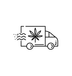 delivery truck icon with marijuana leaf isolated vector image