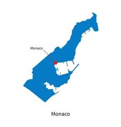 Detailed map of Monaco and capital city Monaco vector