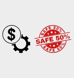 dollar setup gear icon and distress safe 50 vector image