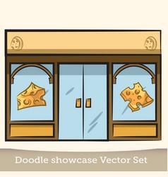doodle cheese showcase set vector image