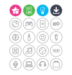 Entertainment icons game joystick microphone vector