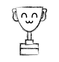 Figure kawaii cute happy prize cup vector