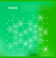finance concept in honeycombs with thin line icons vector image
