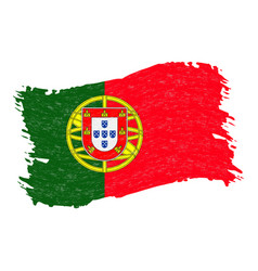 flag of portugal grunge abstract brush stroke vector image