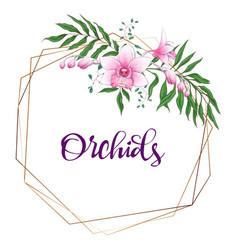 floral design geometric frame orchid eucalyptus vector image
