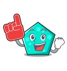 foam finger pentagon mascot cartoon style vector image