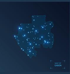 gabon map with cities luminous dots - neon lights vector image