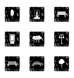 Garden icons set grunge style vector image