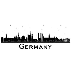 Germany city skyline silhouette with black vector