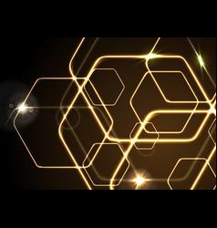 Glowing orange neon hexagons background vector