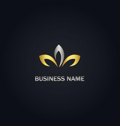 Gold leaf abstract logo vector