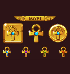 golden cross ankh with colored precious vector image