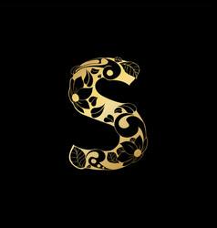 Golden ornamental alphabet letter s font vector