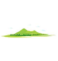 green mountain hills with fores isolated vector image