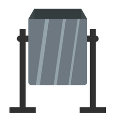 Grey metal dust bin icon isolated vector