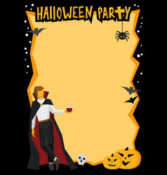 halloween frame with vampire and wineglass vector image