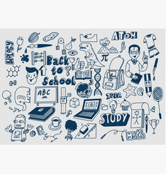 Hand drawn scketchy school supplies doodles vector