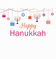 Happy hanukkah greeting card candlestick vector