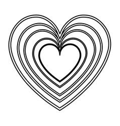 Heart love romantic feeling decoration line vector