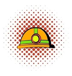 Helmet with flashlight icon comics style vector image