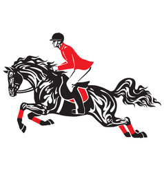 Horse jumping black red vector
