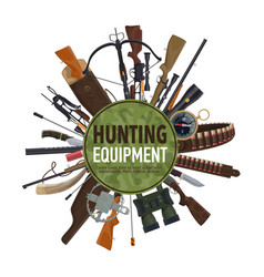 Hunting weapon and equipment poster design vector
