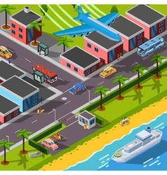 Isometric Top View Transport Concept vector image