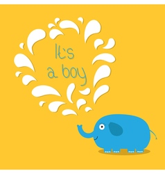 its a boy bashower card with elephant and vector image