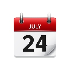 July 24 flat daily calendar icon Date vector