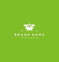 Logo design hand human and leaf vector