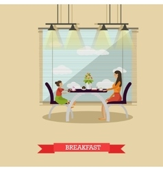 Mother and daughter having breakfast together - vector
