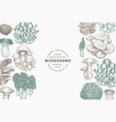 mushrooms design template hand drawn mushroom in vector image