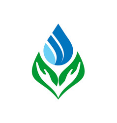 natural water abstract leaves hand logo icon vector image