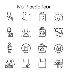 No plastic bag icons set in thin line style vector