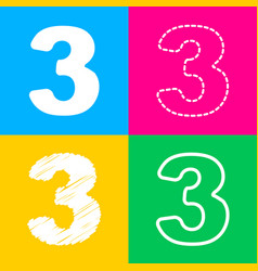 number 3 sign design template element four styles vector image